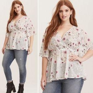 Torrid Sheer floral Blouse | Plus Size 2X